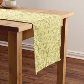 Gold Music Notes Table Runner