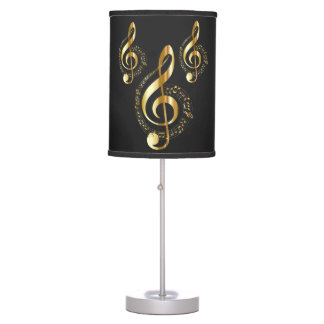 Gold music symbols table lamp
