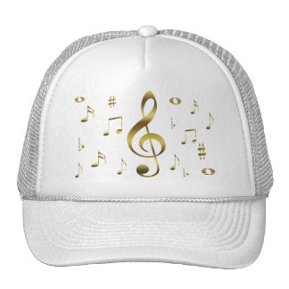Gold Musical Notes Hat