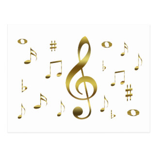Gold Musical Notes Postcard