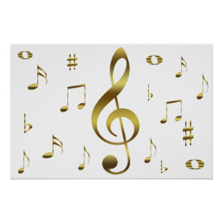 Gold Musical Notes Poster