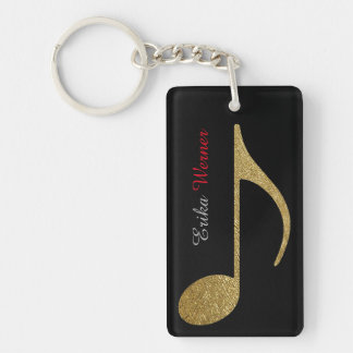 gold musical notes with name and initials black Double-Sided rectangular acrylic keychain