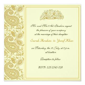 Gold Muslim wedding Card