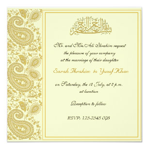gold muslim wedding card - Muslim Wedding Cards