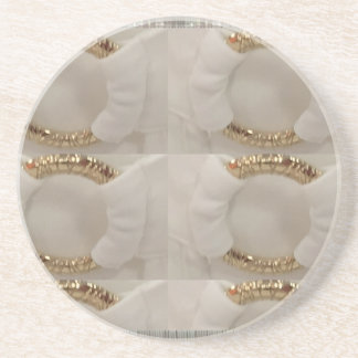 Gold n white fashion accessory diy add text image beverage coasters