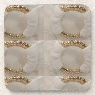 Gold n white fashion accessory diy add text image drink coaster