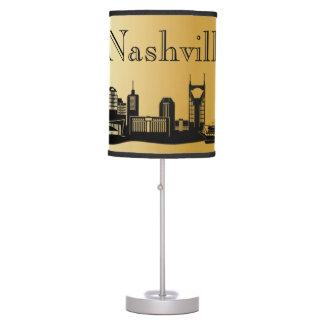 Gold Nashville Skyline Silhouette Desk Lamps