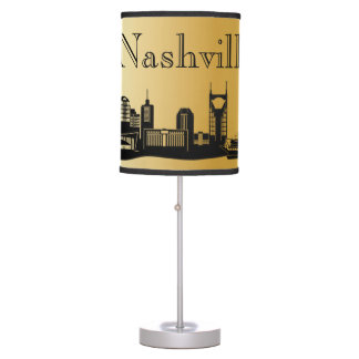 Gold Nashville Skyline Silhouette Table Lamp