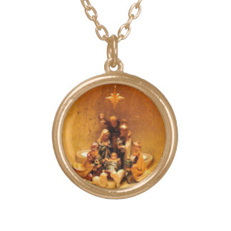Gold Nativity Scene Necklace