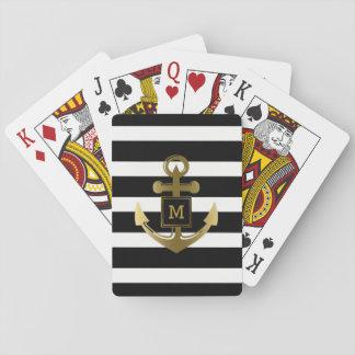 Gold Nautical Anchor Black White Stripes Monogram Playing Cards