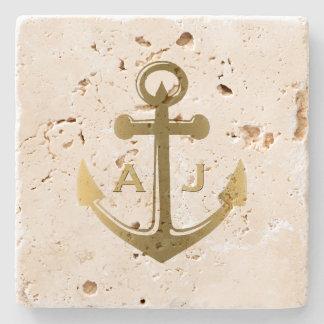 Gold Nautical Anchor Wedding Monogram Stone Coaster