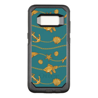 Gold Nautical Pattern OtterBox Commuter Samsung Galaxy S8 Case