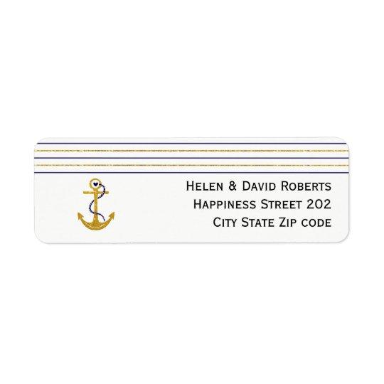 Gold, navy anchor and stripes nautical wedding return address label