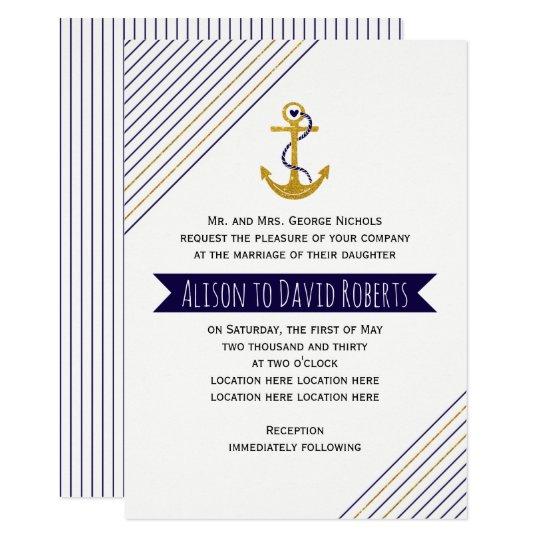 Gold, navy anchor, stripes nautical beach wedding card