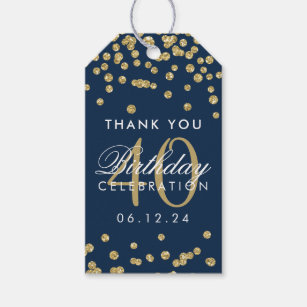 Gold Navy Blue 40th Birthday Thank You Confetti Gift Tags
