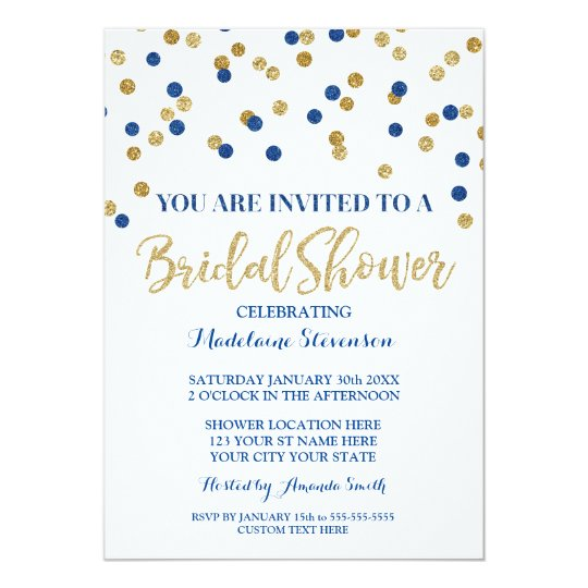 Gold Navy Blue Confetti Bridal Shower Invitation