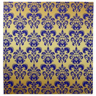 Gold, Navy Blue Damask Pattern 2 Napkin