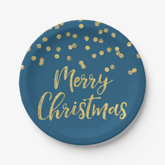 Gold Navy Blue Glitter Confetti Merry Christmas 7 Inch Paper Plate