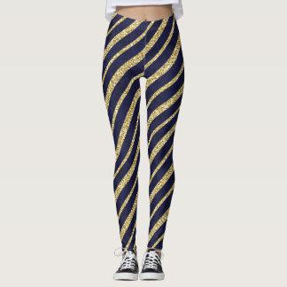 Gold & Navy Blue spiral stripes yoga Leggings