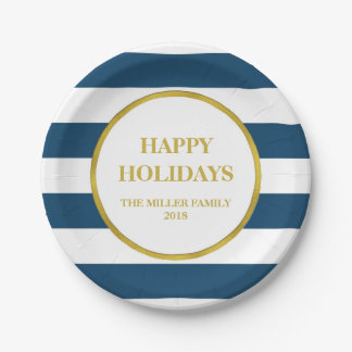 Gold Navy Blue Stripes Happy Holidays Christmas Paper Plate