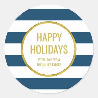 Gold Navy Blue Stripes Happy Holidays Custom Classic Round Sticker