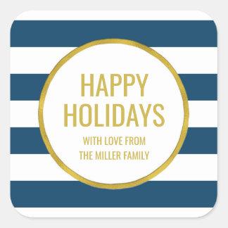 Gold Navy Blue Stripes Happy Holidays Custom Square Sticker