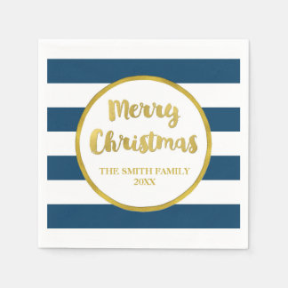 Gold Navy Blue Stripes Merry Christmas Napkin Disposable Napkin