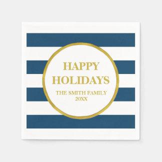 Gold Navy Blue Stripes Modern Christmas Napkin Disposable Napkin
