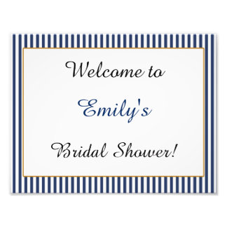 Gold Navy Blue Stripes Welcome Party Sign Photographic Print