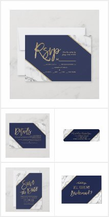 Gold navy blue white marble wedding