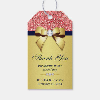 Gold Navy Coral Sequins Diamonds Bow Pack Of Gift Tags