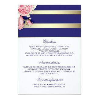 "Gold Navy Floral Wedding Details - Information 3.5"" X 5"" Invitation Card"