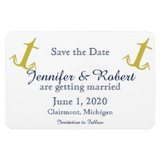 Gold Navy Nautical Anchor Wedding Save the Date Rectangular Photo Magnet