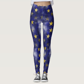 Gold & Navy Star Leggings