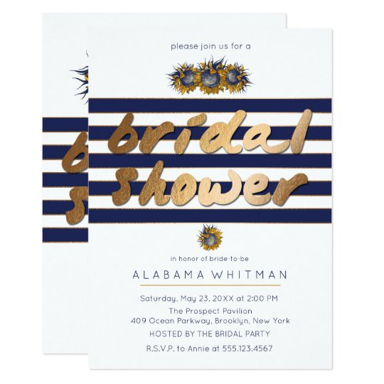 Gold & Navy Sunflower Bridal Shower Invitations