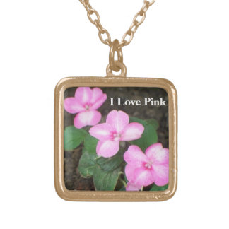 Gold Necklace Jewelry - Pink Flowers