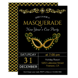 Gold New Year's Eve Masquerade Party Invitation