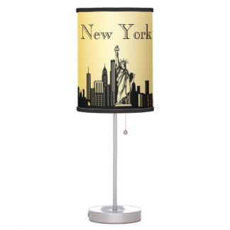 Gold New York City Skyline Silhouette Lamp