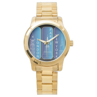 "Gold ""New York, Paris, London"" Ladies Watch"