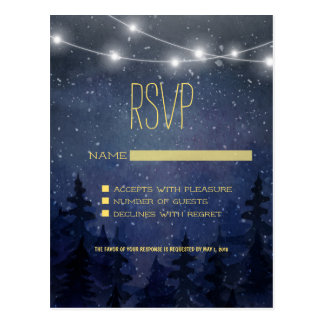 Gold Night Sky Forest Wedding RSVP Postcard