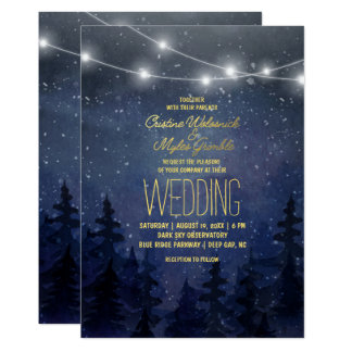 Gold Night Sky Forest Wedding | String Lights Card