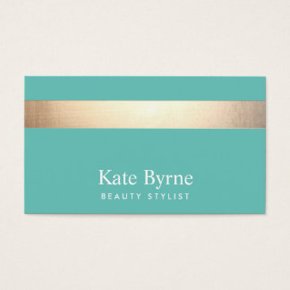Gold (no shine) Striped Modern Stylish Turquoise Business Card