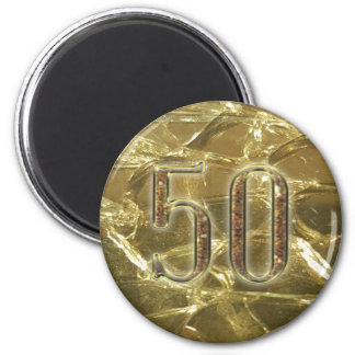 gold number 50 golden lights 50th anniversary 2 inch round magnet