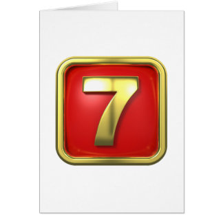 Gold Number Seven Greeting Cards
