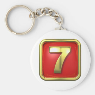 Gold Number Seven Keychain