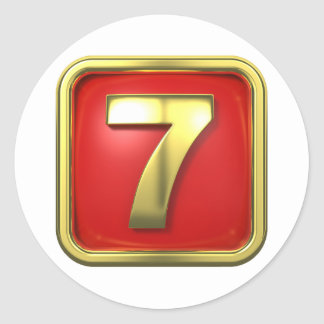 Gold Number Seven Stickers