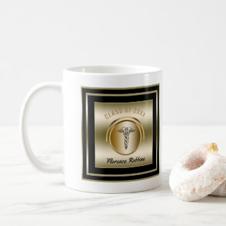 Gold Nurse Graduation Party | Caduceus Symbol Coffee Mug
