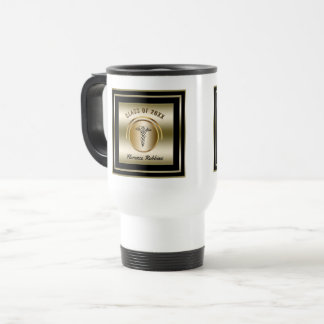 Gold Nurse Graduation Travel Mug | Caduceus Symbol