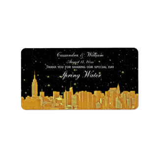 Gold NYC Etched Starry Skyline Water Bottle Label