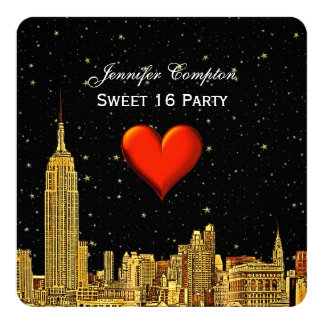 """Gold NYC Skyline 01 Etched Heart Stars SQ Sweet 16 5.25"""" Square Invitation Card"""